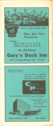 Orlando in the 1960s gary's duck inn