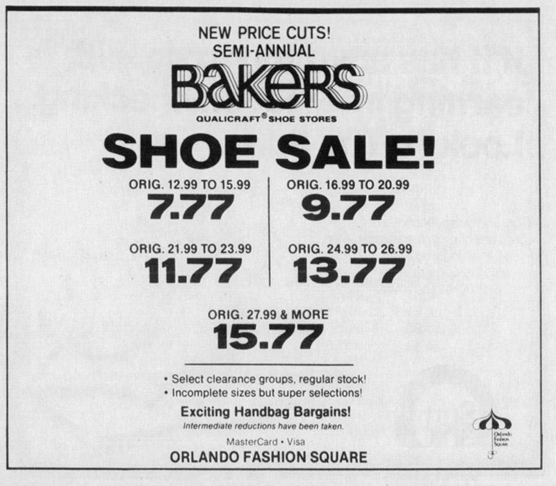orlando fashion square mall Baker's shoes