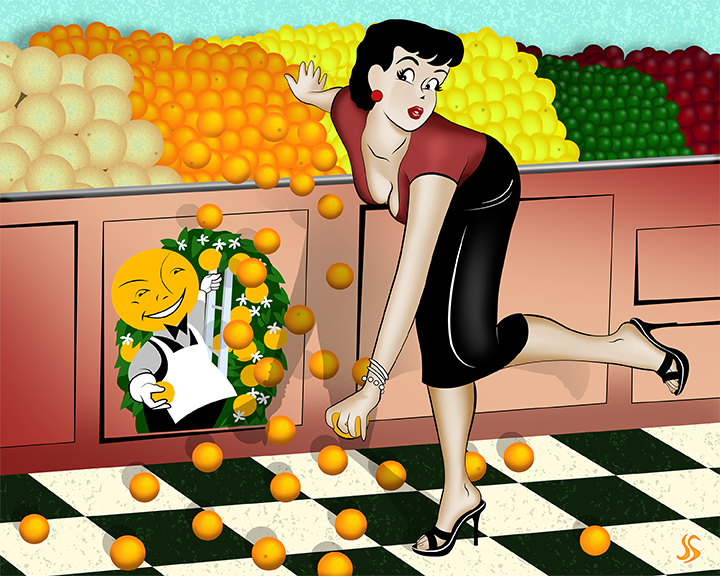 grocery store pin up cartoon style falling oranges