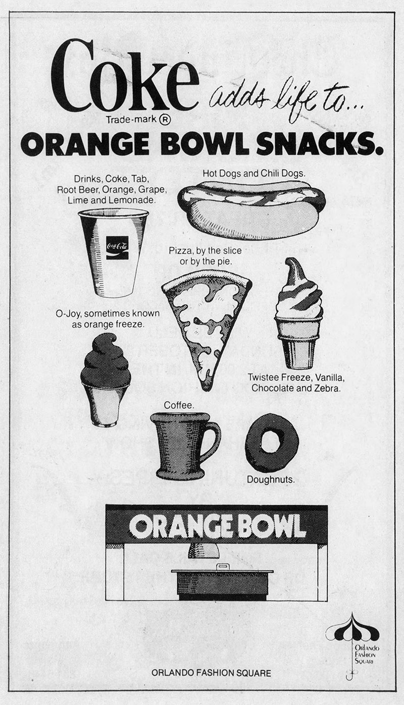 orlando fashion square mall orange bowl snacks