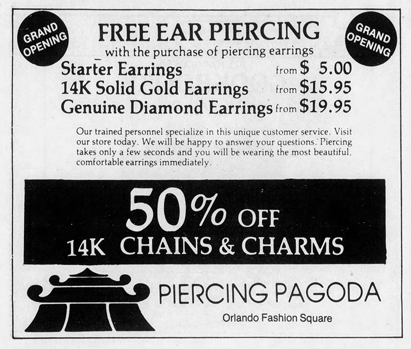 orlando fashion square mall piercing pagoda