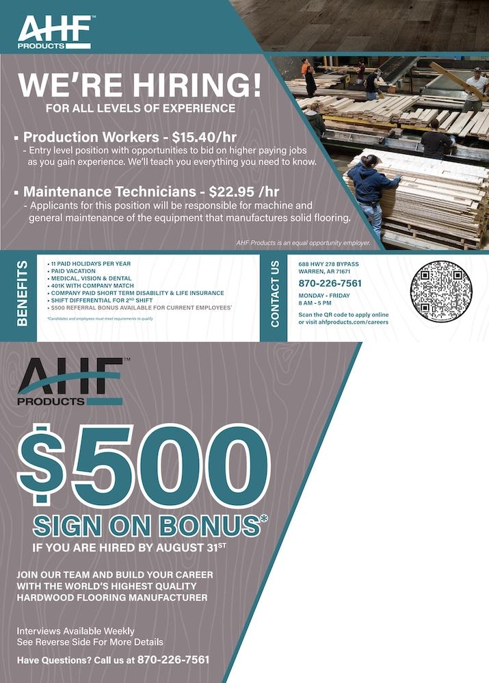 AHF Hiring! $500 Sign On Bonus