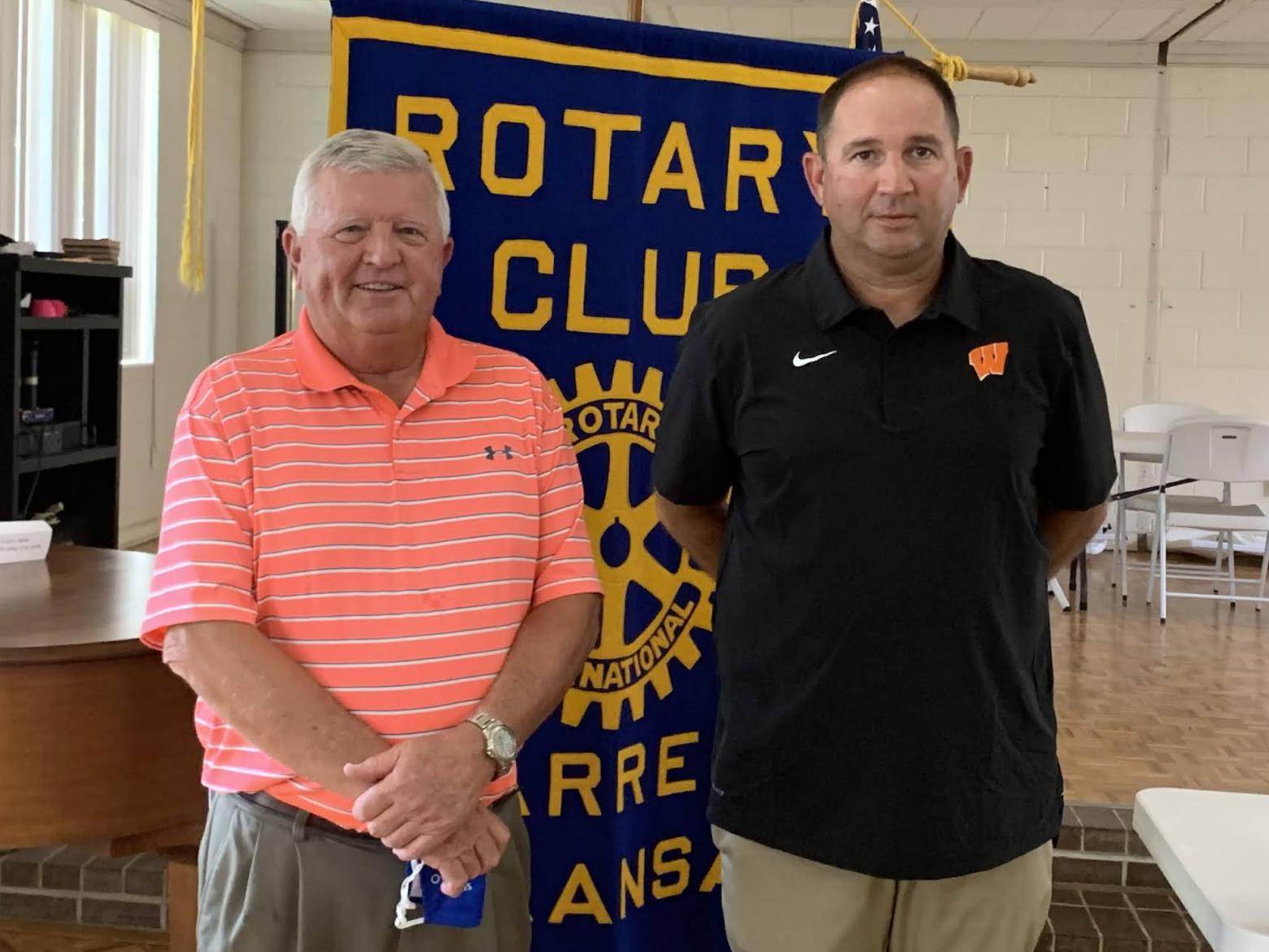 Coach Bo Hembree speaks to Warren Rotary ahead of the 2021 Lumberjack Football season