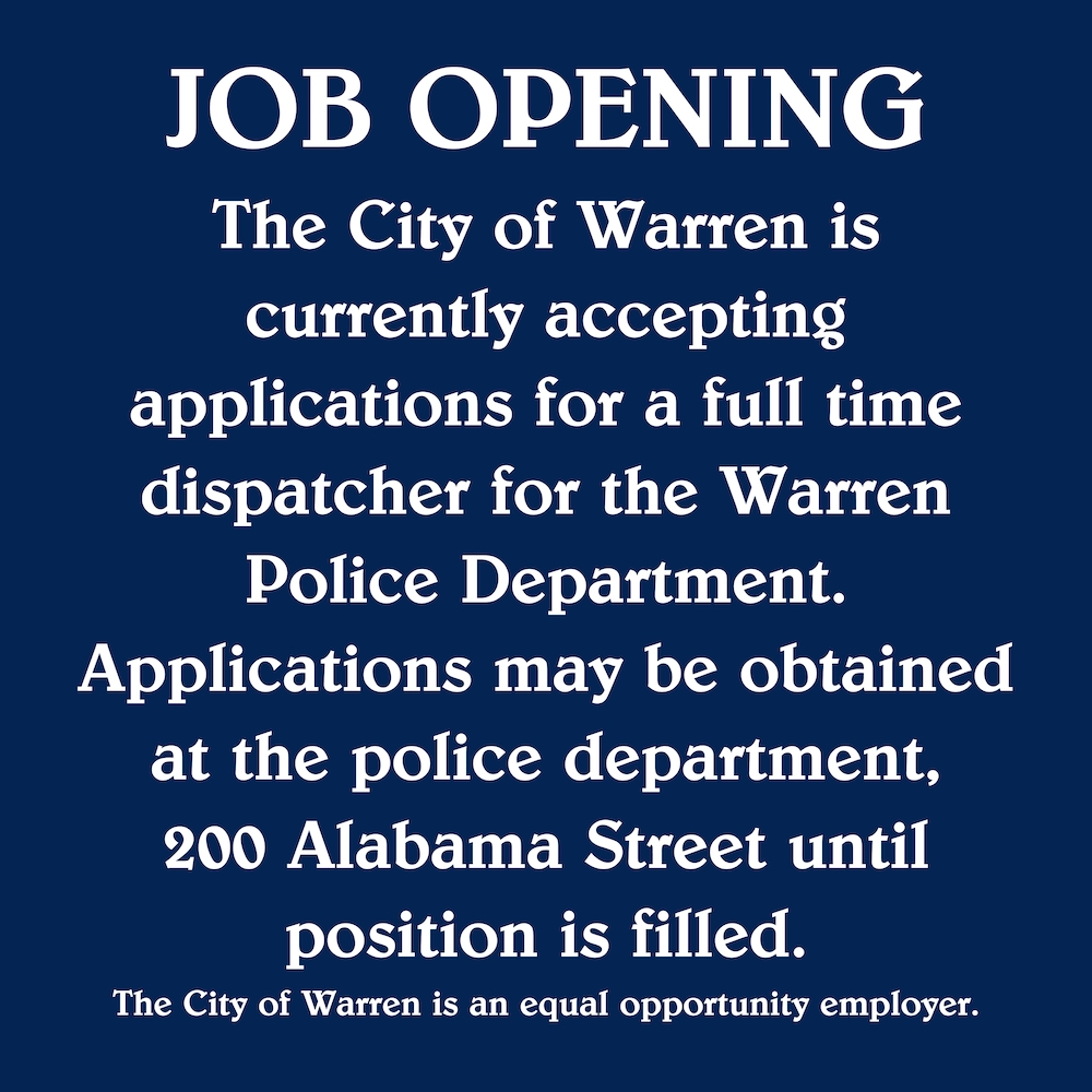 City of Warren accepting applications for full-time dispatcher