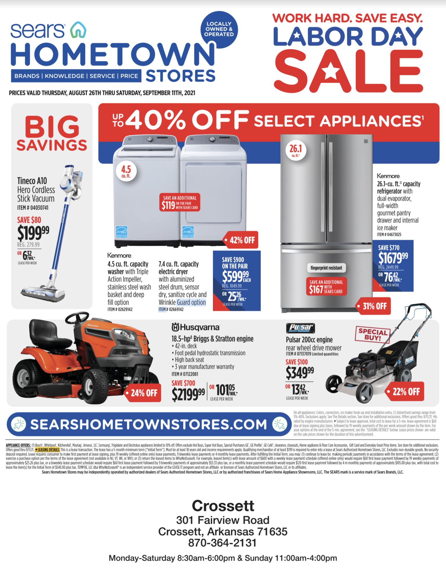 Sears Labor Day Sale