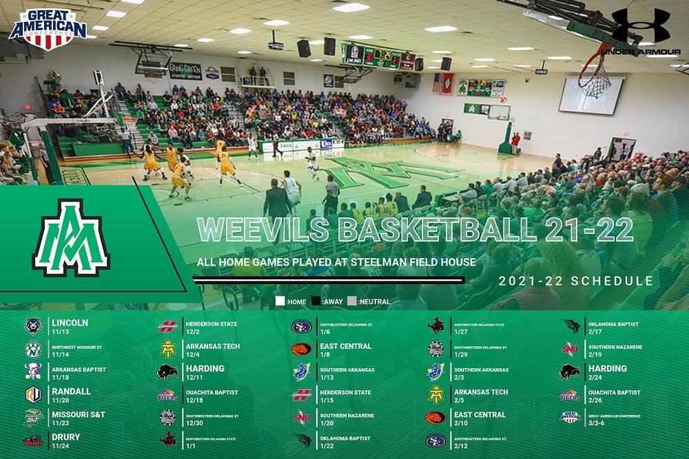 Weevils announce 21-22 men's basketball schedule