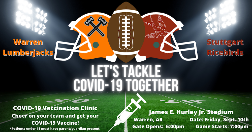 COVID-19 vaccination clinic to be hosted at the Warren vs. Stuttgart game this Friday