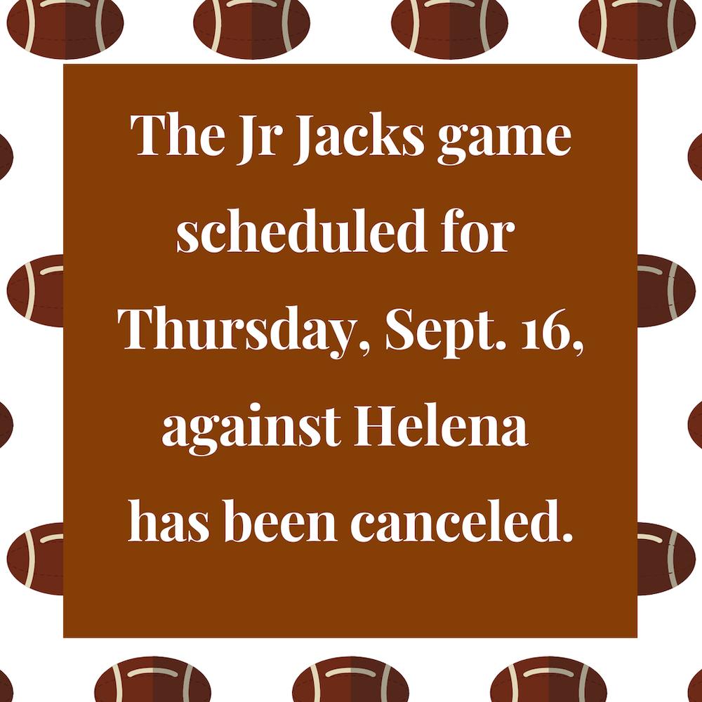 Thursday Jr. Jack game against Helena canceled
