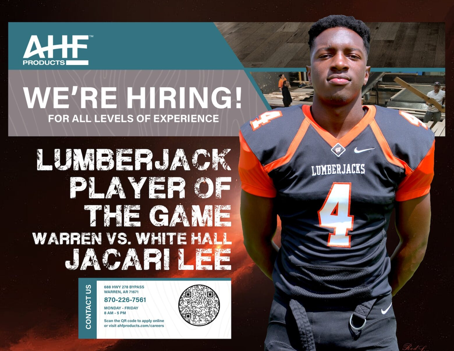 Jacari Lee named AHF Products Lumberjack Player of the Game for his performance in Warren's season opener