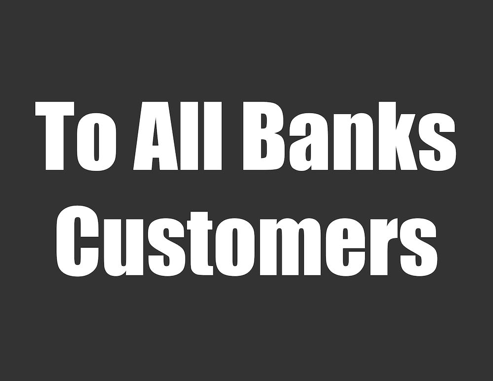 To All Banks Water Customers