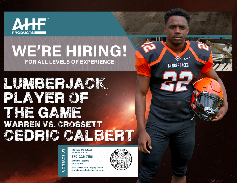Calbert named AHF Products Lumberjack Player of the Game vs. Crossett