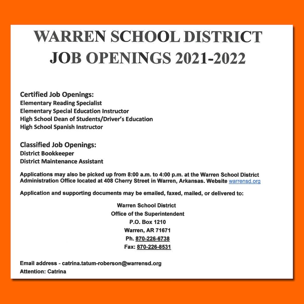 Warren School District Job Openings 2021-2022