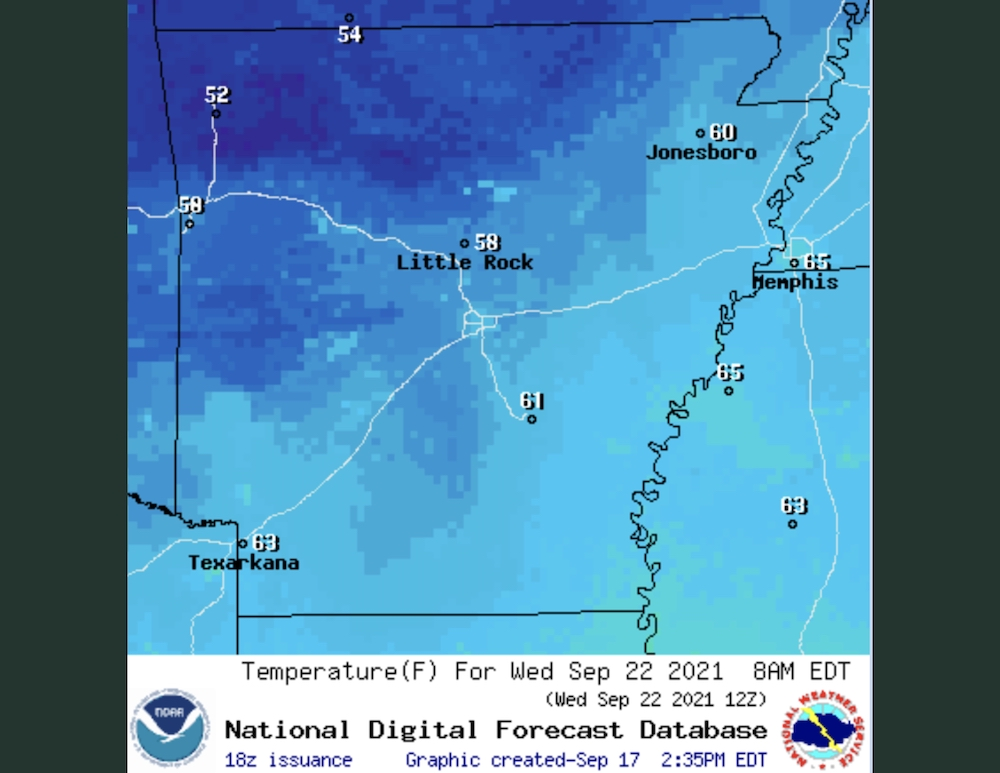 First fall temperatures expected in South Arkansas Wednesday
