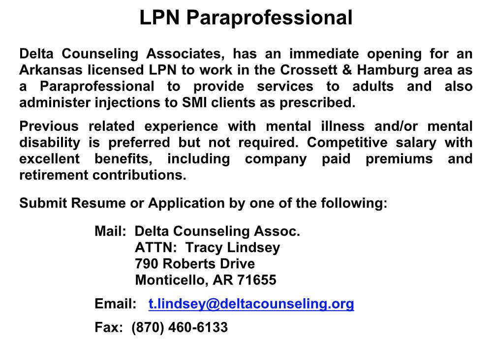 Job Opening-LPN Paraprofessional
