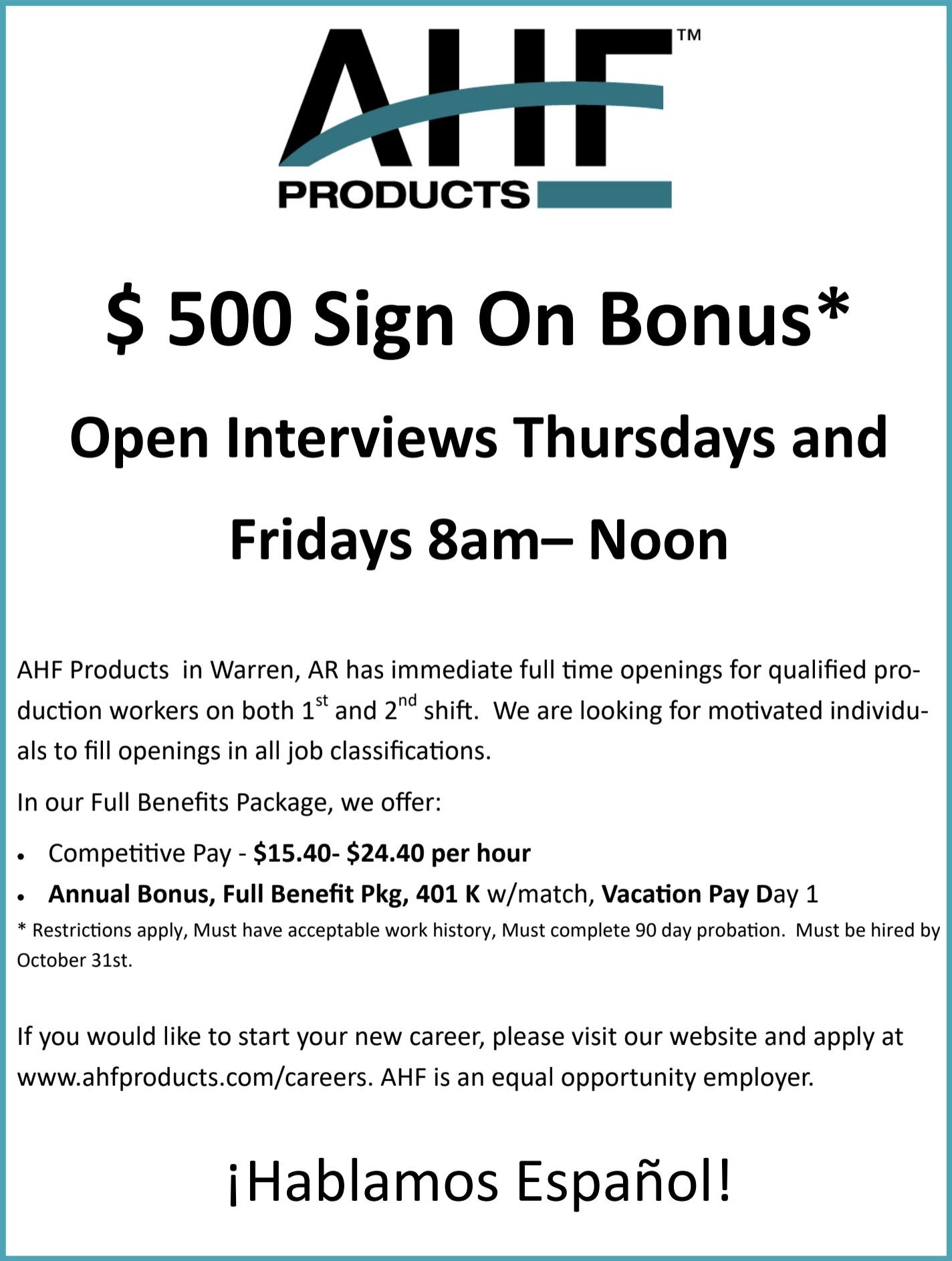 AHF Products-$500 Sign On Bonus*