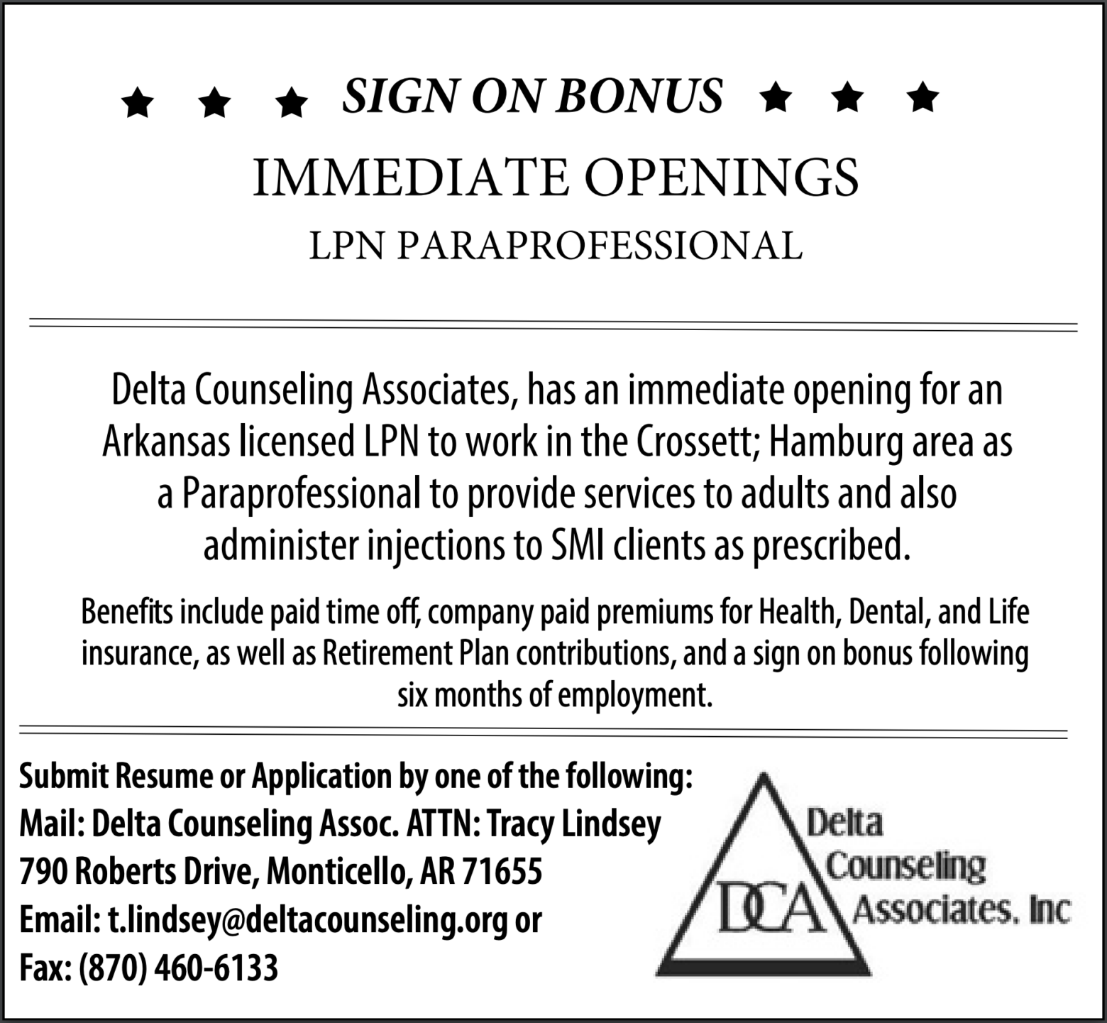 Sign On Bonus-Immediate Openings-LPN Paraprofessional