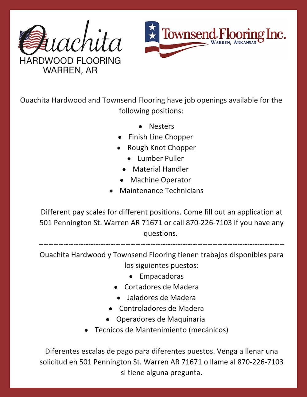 Ouachita Hardwood and Townsend Flooring have job openings