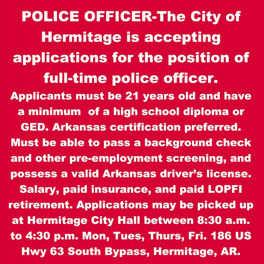 Hermitage accepting applications for full-time police officer