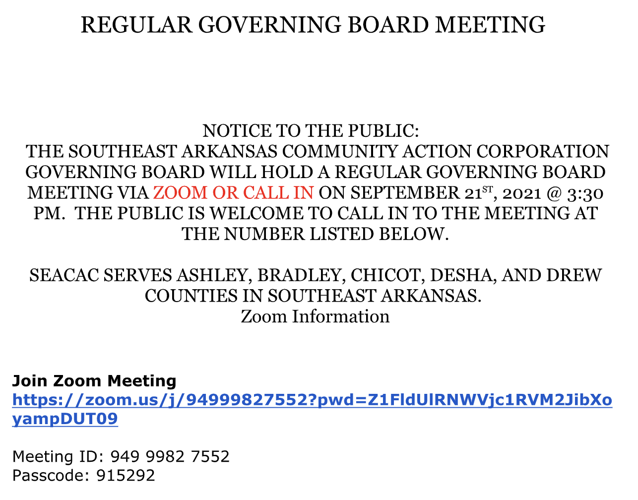 SEACAC Regular Governing Board Meeting September 21