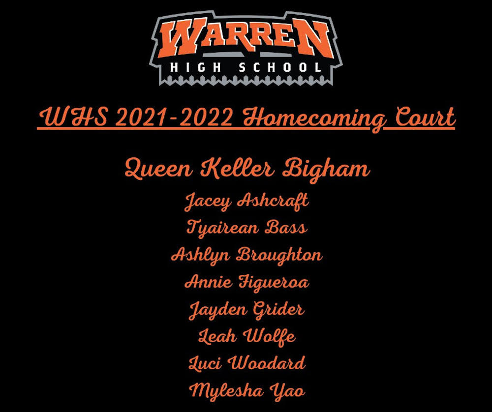 2021 WHS Homecoming Court announced