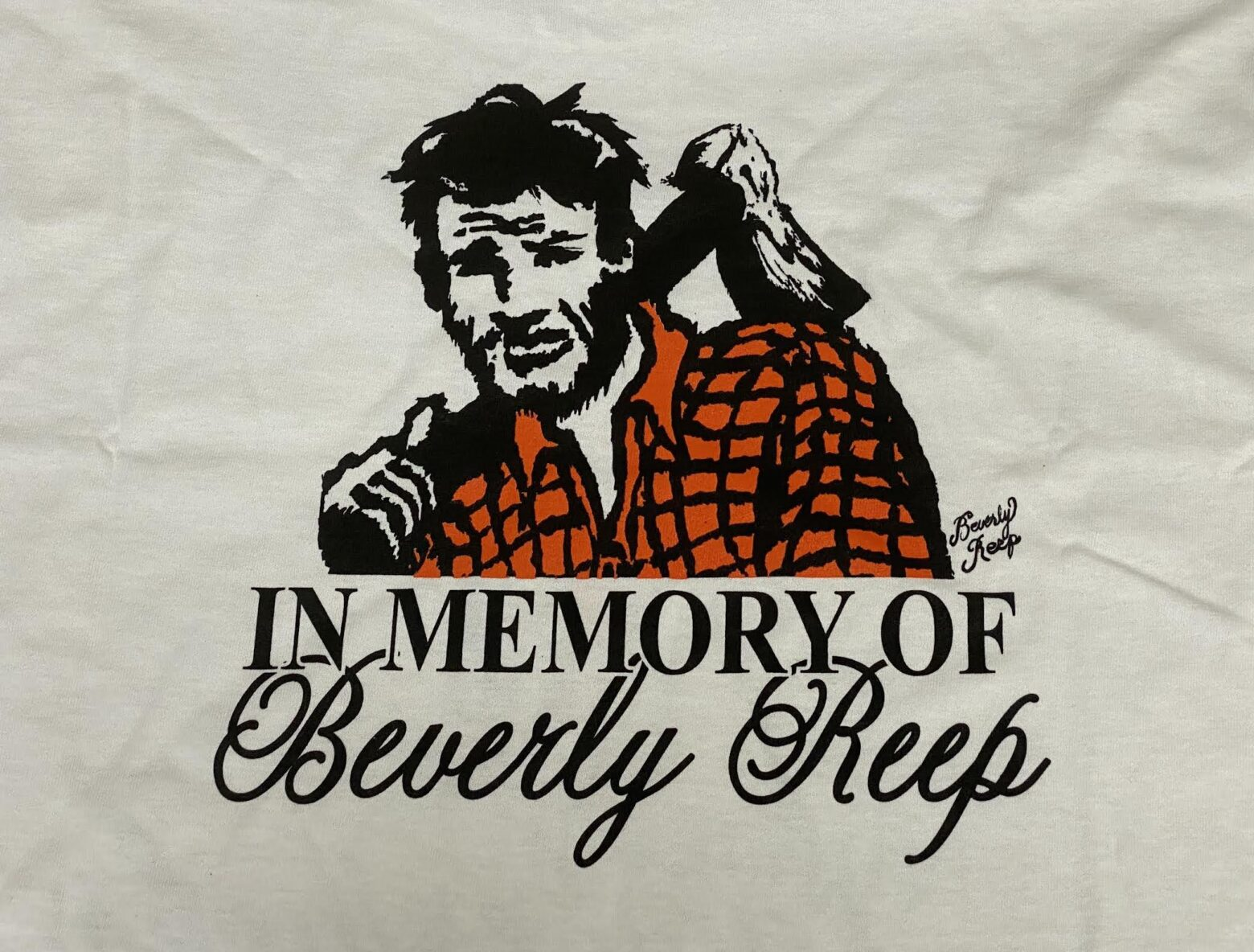 Lumberjack t-shirts featuring art of the late Beverly Reep now available for purchase as part of fundraising effort