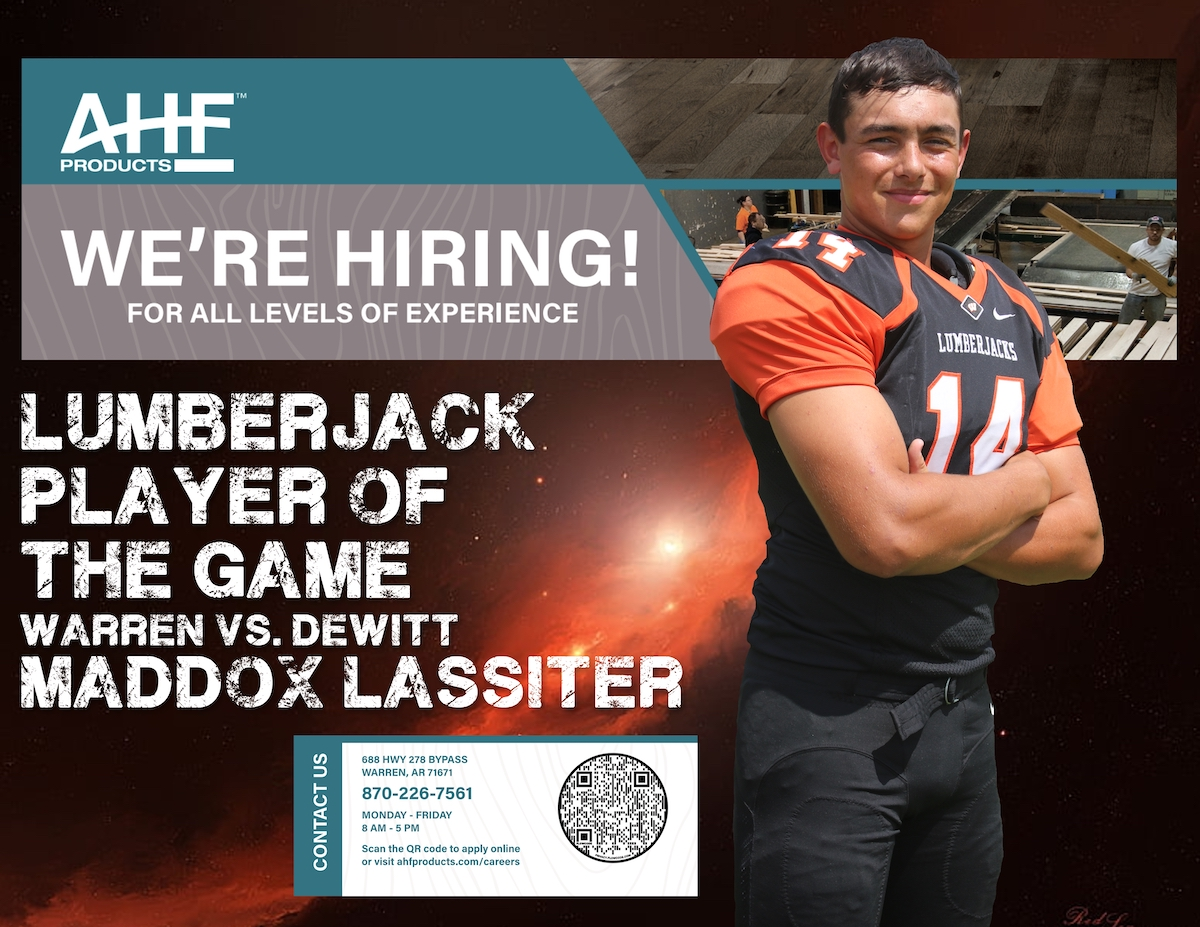"""Maddox """"Maddog"""" Lassiter named AHF Products Lumberjack Player of the Game vs. DeWitt"""
