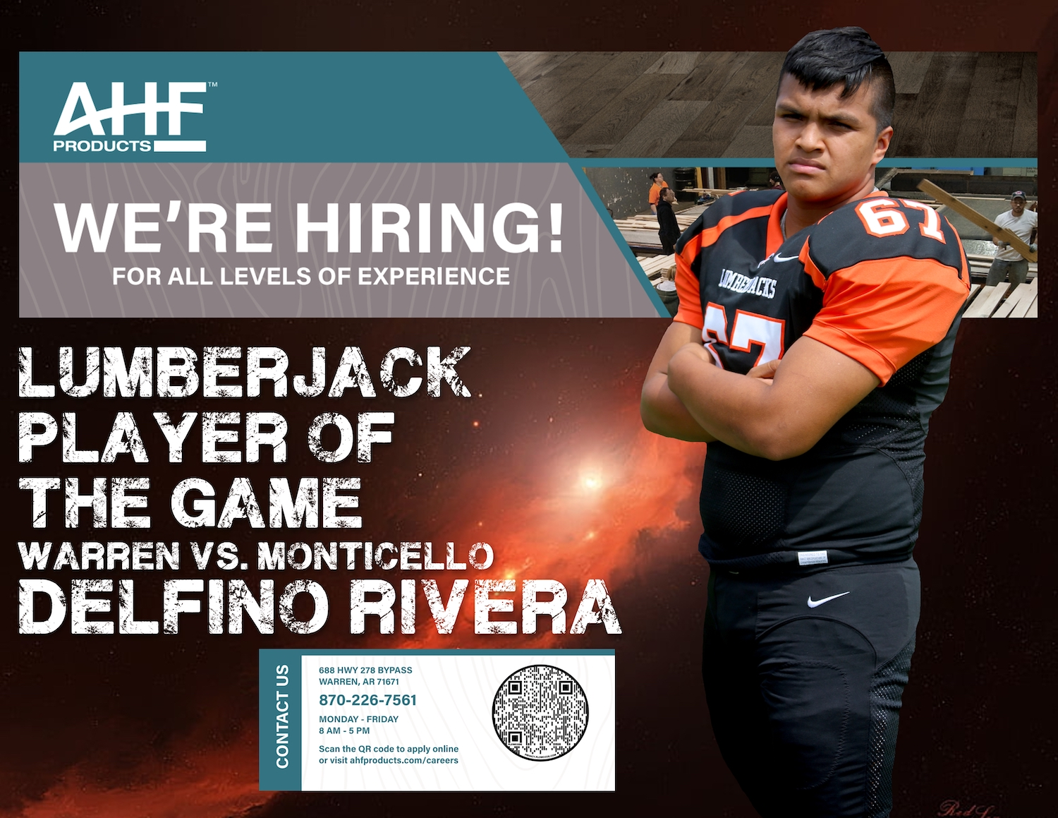 Delfino Rivera named AHF Products Lumberjack Player of the Game vs. Monticello