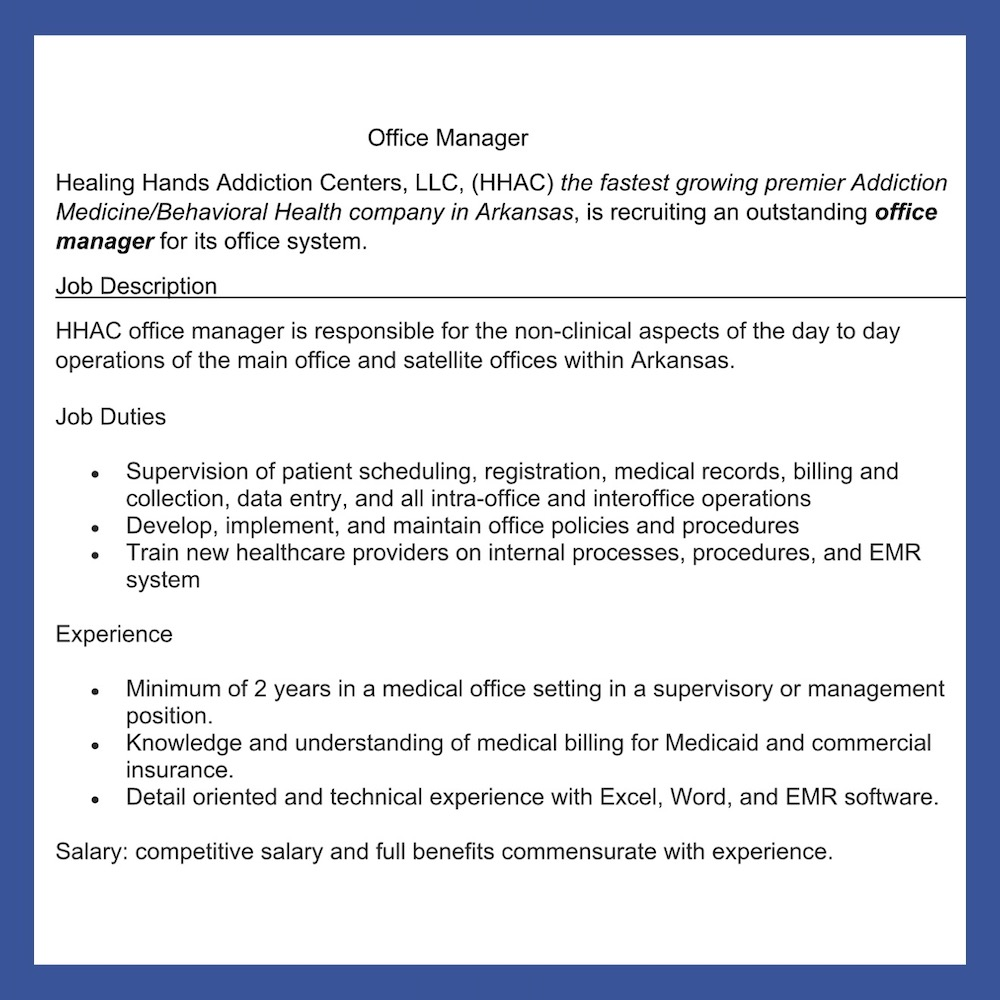 Office manager position available
