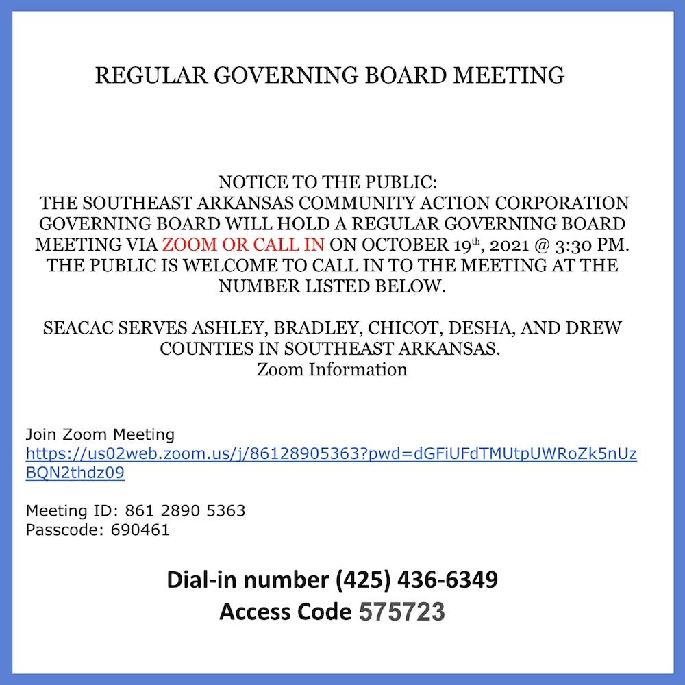 Regular Governing Board Meeting-Southeast Arkansas Community Action Corporation