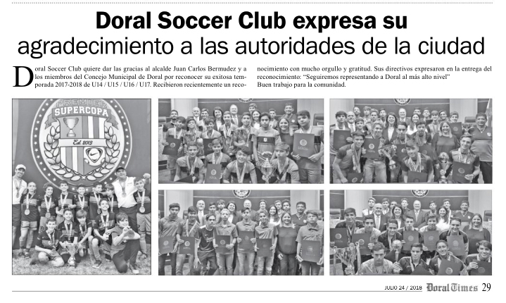 Doral Soccer News