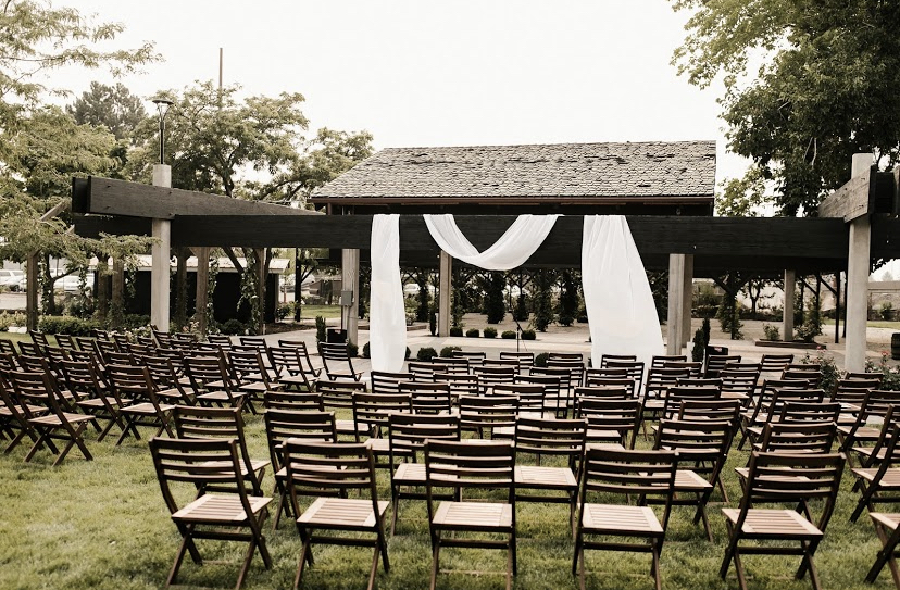 outdoor ceremony seating at Glasshouse Venues