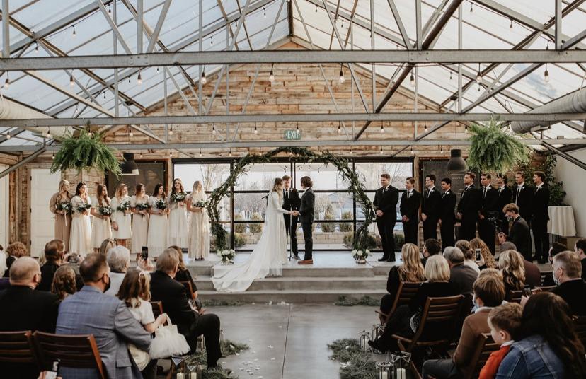 indoor wedding ceremony at Glasshouse Venues