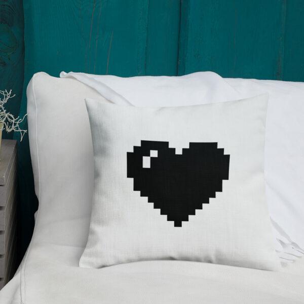 black pixel heart pillow