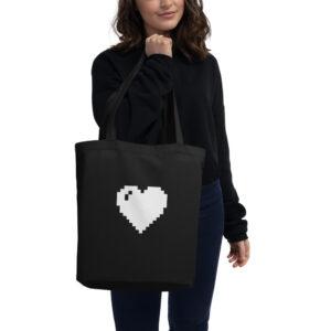 white pixel heart tote