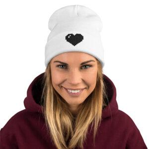 black pixel heart white beanie for women