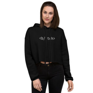bitch cropped hoodie in black
