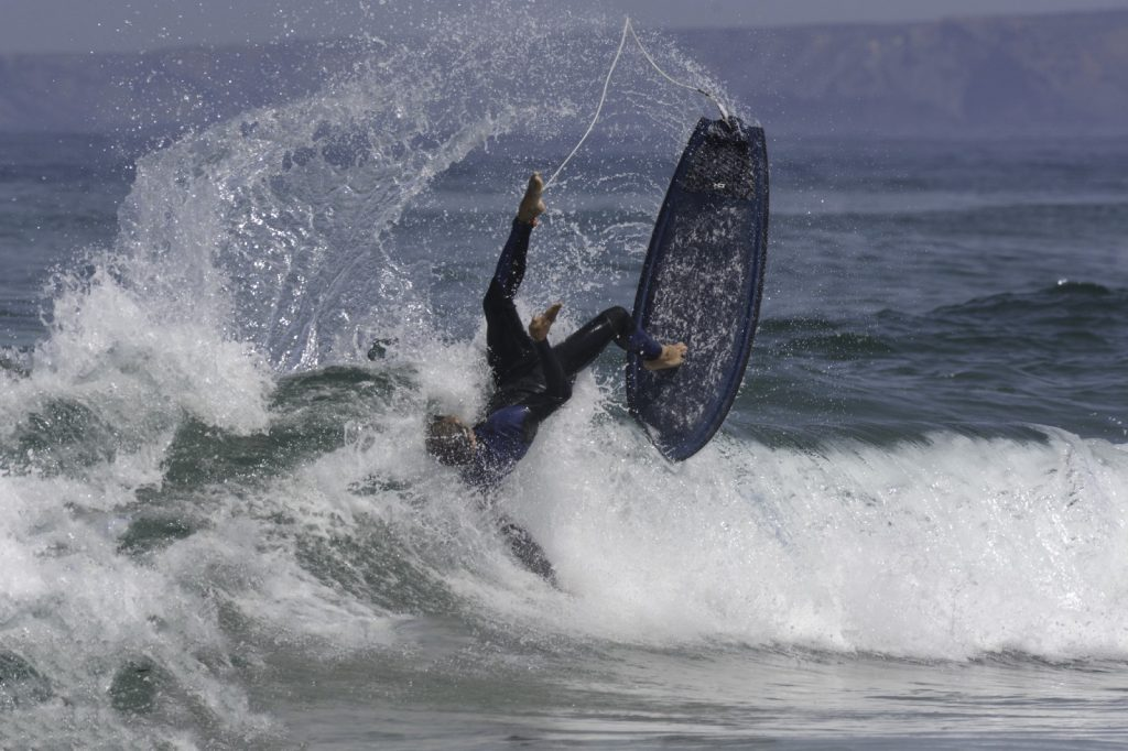 Surfer wiping out