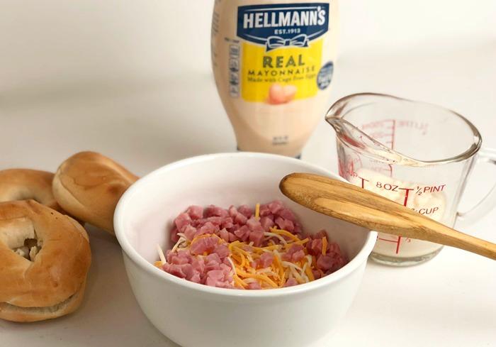 Ham & Cheese Bagels process 1