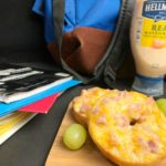 Ham & Cheese Bagels with school supplies and Hellmann's