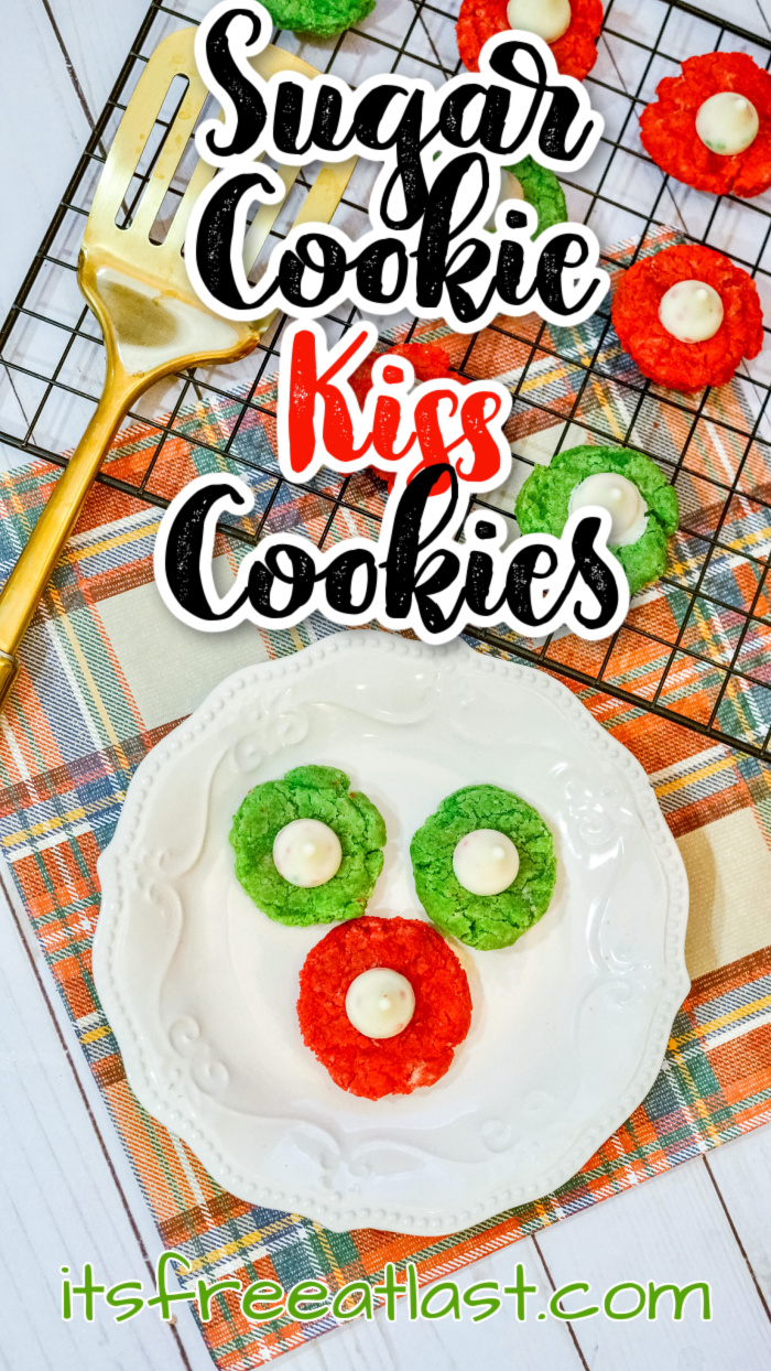 Sweet Sugar Cookie Kiss Cookies #recipe