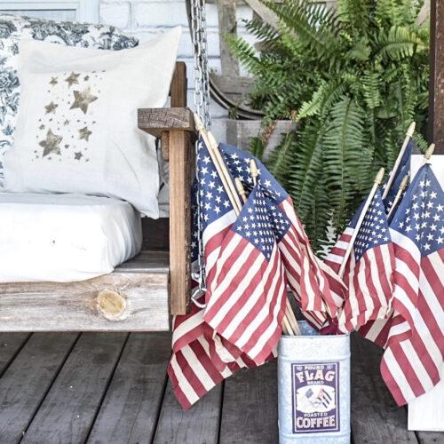 Neutral patriotic pillow cover