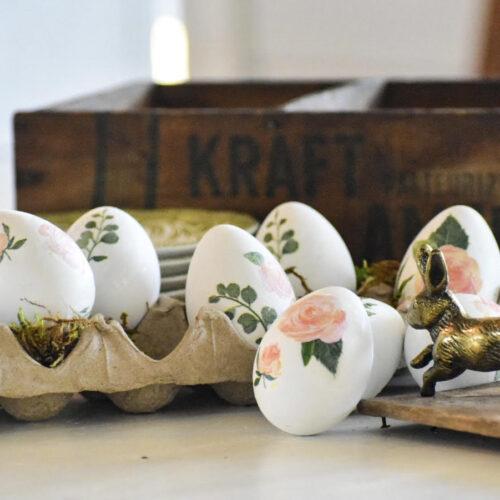 simple decoupage easter eggs