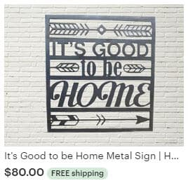 Aulick ETSY It's Good to be Home Metal Sign | Home Wall Art | Metal Wall Art Decor | Home Outdoor Sign | Good to be Home Decor