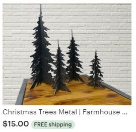 Aulick ETSY Christmas Trees Metal | Farmhouse Christmas Decor | Metal Tree Decorations | Steel Trees