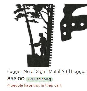 Aulick Etsy Logger Metal Sign | Metal Art | Logger Decor | Custom Metal Sign | Saw Blade Art