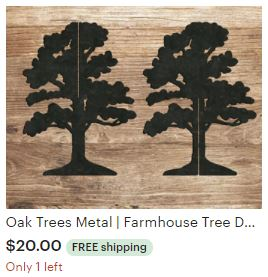 Aulick Etsy Deciduous Trees Metal | Farmhouse Tree Decor | Metal Tree Decorations | Steel Trees | 3D Tree Art