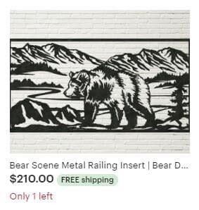 Aulick ETSY Bear Scene Metal Railing Insert | Bear Decor | Wildlife Art | Cabin Decor | Lodge Decor | Wildlife Themed Wall Art