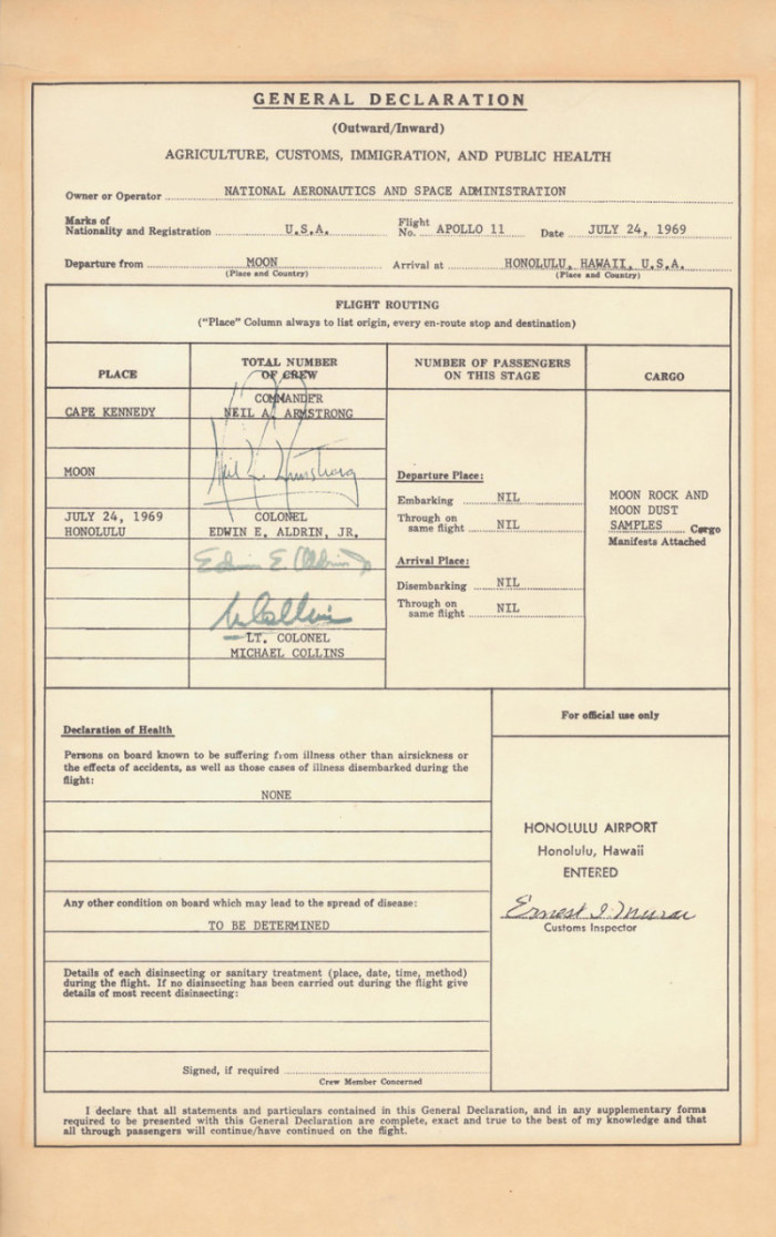 A copy of the U.S. Customs form filled out by Apollo 11 astronauts Neil Armstrong, Buzz Aldrin and Michael Collins after their return to Earth on July 24, 1969. (Courtesy of NASA/U.S. Customs and Border Patrol)