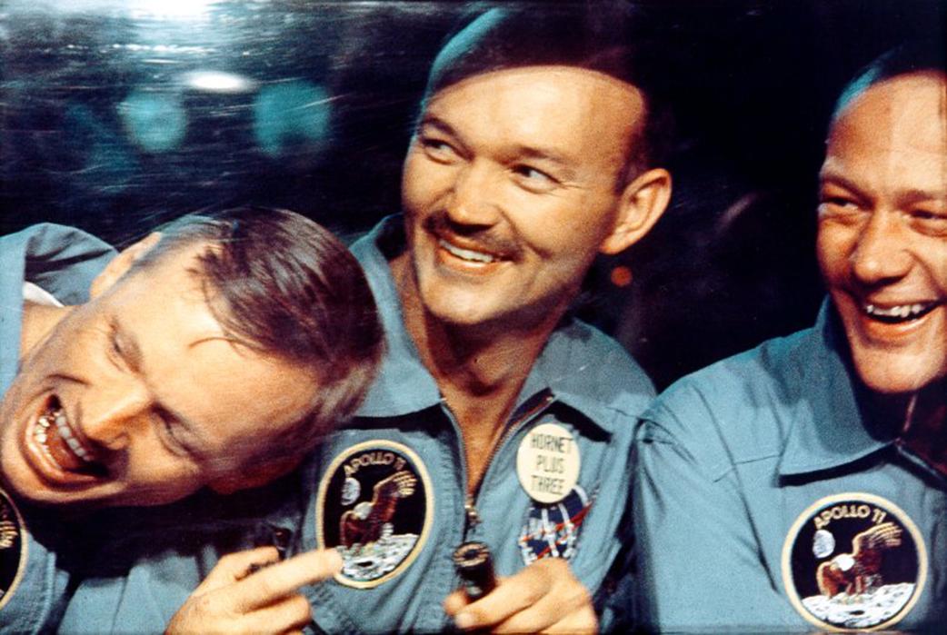 Apollo 11 crew, candid photo, NASA