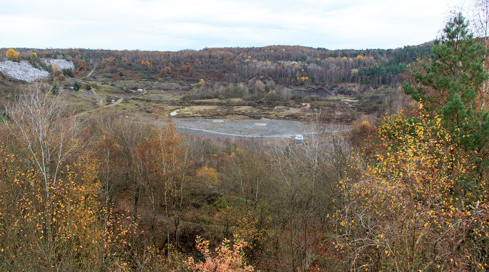 View across the Messel Pit today. Diameter ~800m, depth ~65m (photo: ©2015 Steven Spence)